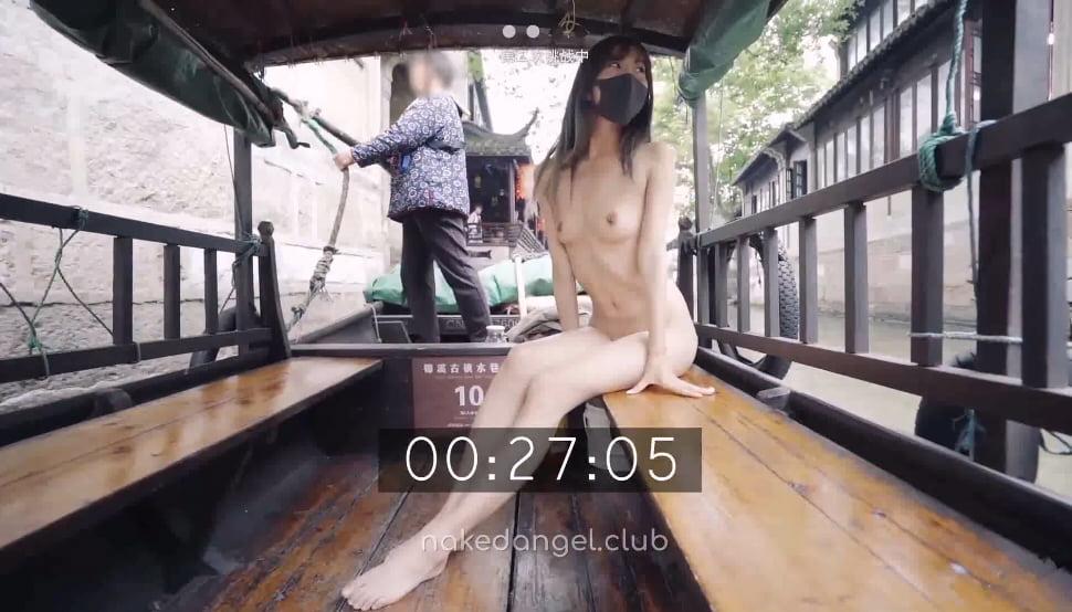 北京天使DensTinon Fox 市内観光の遊覧船で全裸露出