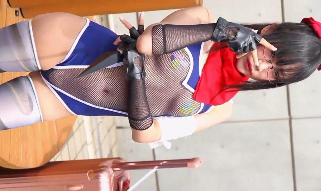 網あみスケスケのセクシー過ぎる変態衣装をコミケで披露する露出系コスプレイヤーさん 動画